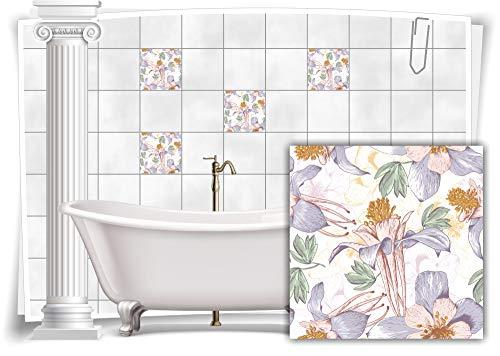 Medianlux Fliesen-Aufkleber Fliesen-Bild Kachel Struktur Blumen Pastell-Farben Sticker Bad WC Küche Deko Digitaldruck Folie, 8 Stück, 15x15cm