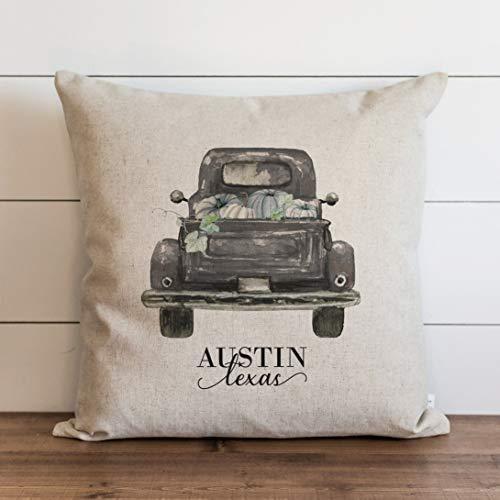 Zucca Truck 2 Federa per cuscino personalizzata   Fall Pillow Cover   Decorazioni per la casa autunnale 18 x 18