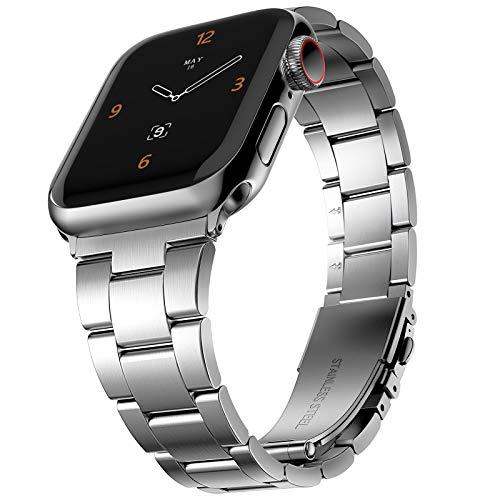 CCnutri - Correa de repuesto compatible con Apple Watch de 42 mm a 44 mm, no necesita herramientas, acero inoxidable, compatible con iWatch Series 5/4/3/2/1, color plateado