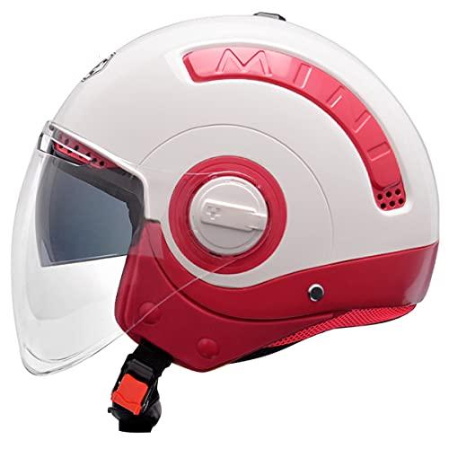 qwert Casco de motocicleta para hombre y mujer, casco de moto jet con doble lente parasol, casco de moto scooter eléctrico aprobado por DOT, M-XXL (57-64cm)