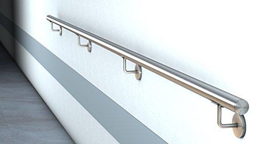 HENGMEI Gel/änder Edelstahl Wandhandlauf Edelstahl Handlauf Treppengel/änder Eingangsgel/änder mit Wandhaltern Halter f/ür Treppen 400cm Balkon Br/üstung