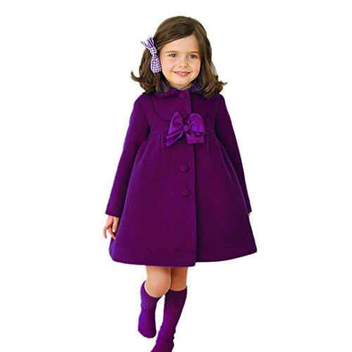 Chaqueta bebé niña, Bebé niñas otoño Invierno Manto Abrigo Chaqueta Ropa de Abrigo 24 Mes - 6 Años (Púrpura, Tamaño:4 Años)