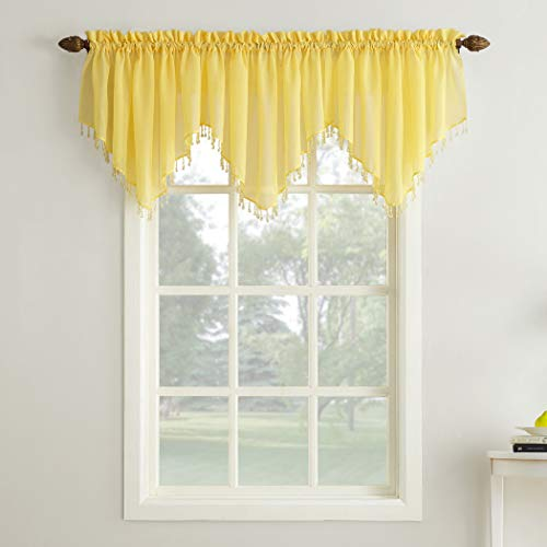 """No. 918 46081 Erica Crushed Texture Sheer Voile Beaded Ascot Rod Pocket Curtain Valance, 51"""" x 24"""", Yellow"""