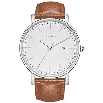 BUREI Men s Fashion Minimalist Wrist Watch Analog White Date with Brown Leather Band  Silver Brown