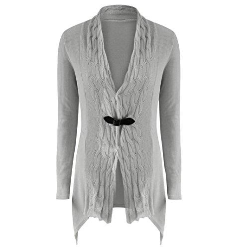 TWIFER Damen Frauen Langarm Pullover Lässige Strickjacke Outwear Kimono (M, Grau)