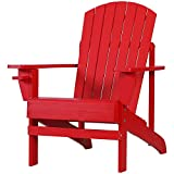 Outsunny Outdoor Classic Wooden Adirondack Deck Lounge Chair with Ergonomic Design & a Built-in Cup Holder, Red