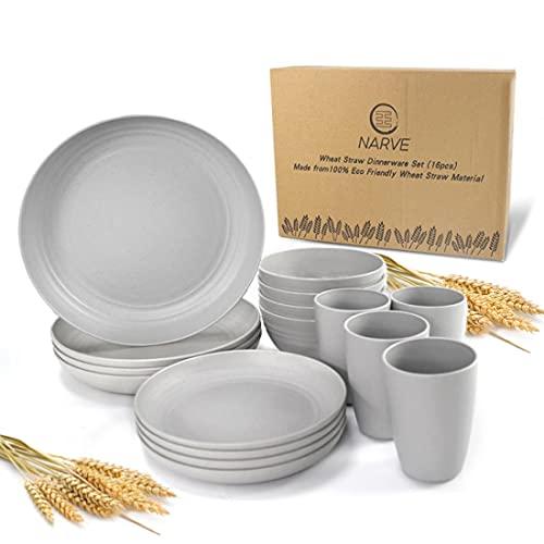 Juego de vajilla de paja de trigo (16 piezas) gris-irrompible para microondas, cuencos ligeros, tazas, platos, reutilizables,...