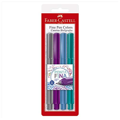 Caneta Ponta Fina, Faber-Castell, Fine Pen, FPB/ES3ZF, 4 Cores