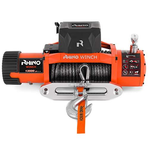 Rhino 12V Elektrische Seilwinde Synthetikseil/Kunststoffseil Mit Funkfernbedienung und Handschalter 13,500lb
