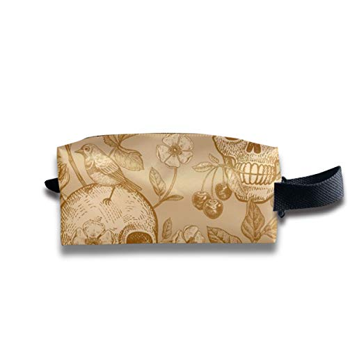 Travel Toiletry Pouch Skulls Rose Flowers Tulips Birds Kit Make-up Bag with Handle
