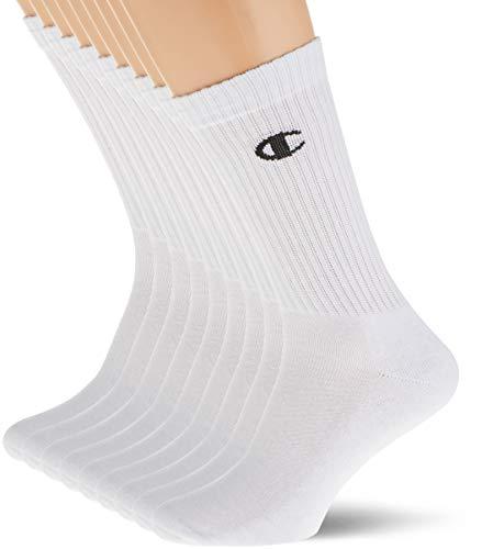 Champion Crew Socks, Paires de Chaussettes Homme, Blanc (Logo Noir), 43-46 Lot de 9