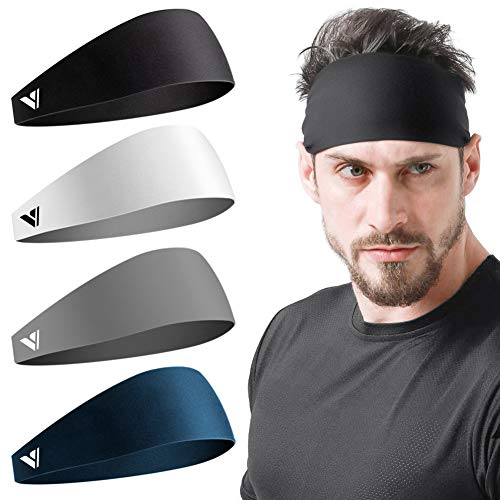 Vgogfly Sweat Headbands for Men Sweatbands for Mens Headband Running Sweat Bands Headbands Men Workout Sports Hairband for Men Thin Fitness Gym Yoga Men Headband Black Dark Grey White Blue