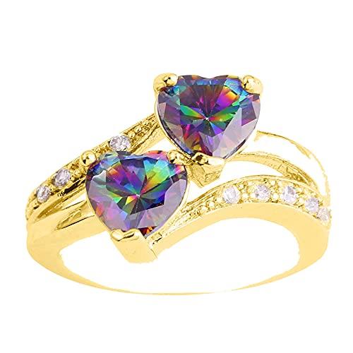 minjiSF Amor corazón para mujeres único doble corazón eterno, anillo de compromiso para niñas, anillo de piedra preciosa auténtica, alianzas de promesa #001 11