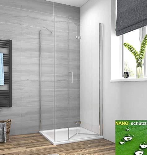 Meykoers Duschkabine 75x90cm Duschabtrennung Duschtür mit Seitenwand, Duschwand Glas Duschtrennwand Falttür 6mm ESG Sicherheitsglas mit Nano-Beschichtung, ohne Duschtasse Höhe 195cm