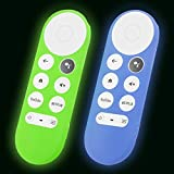 2-Pack Glow Remote Cover Replacement for Chromecast with Google TV 2020 Control, Silicone Case with Lanyard (Lime Green and Blue)