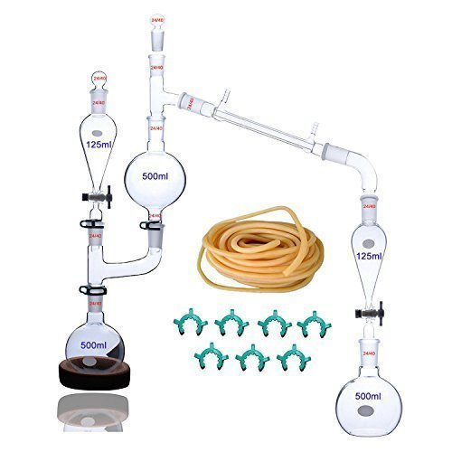 25-teiliges Labor-Destillationsgerät für ätherische Öle, Dampfdestillationsgeräte, Glaswaren, Wasser-Destillierer, Luftreiniger mit Trenntrichter
