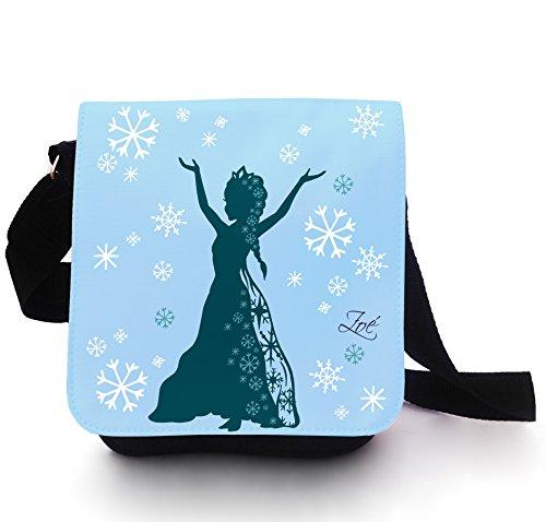 ilka parey wandtattoo-welt Tasche Kindertasche Handtasche Schultertasche Schultasche Schneekönigin Prinzessin Schnee EIS mit Wunschname in lichtblau kt105