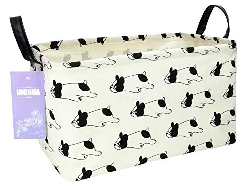 INGHUA Rectangular Storage Basket Fabric Organizer Bin for Toys,Books,Clothes,Gifts,Pets-Perfect for Home,Office,Nursery,Dorm,Shelf(Rec Bulldog)
