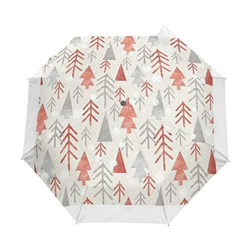 Kleiner Regenschirm Winddicht im Freien Regen Sonne UV Auto Compact 3-Fach Regenschirm Abdeckung - Nahtloses Weihnachtsmuster auf Papier Textur