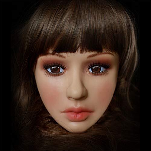 QHYAH Varón de la muñeca de la máscara de la Piel de látex Hecho a Mano de Silicona Sexy y Dulce Mitad Femenina de la Cara Ching Crossdress Máscara Crossdresser Transgénero,Tan