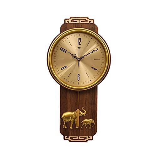 SHUNFAYOUXIANGS Reloj de Pared Chino Reloj de Madera casa Sala de Estar Dormitorio decoración Reloj de Pared Reloj de Silencio 25.59 Pulgadas (Style : Elephant Clock)