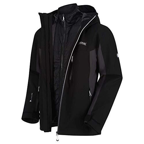 Regatta Herren Wentwood V Waterproof Breathable Taped Seams Multiple Pockets Hooded 3-In-1 Jacket Jacke, Schwarz/Esche, 5XL