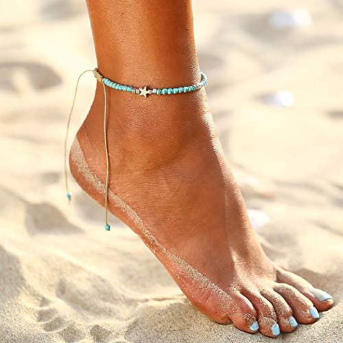 Simsly Boho Beach Star Turquoise Anklet Beaded Woven Ankle Bracelets Foot Jewelry For Women and Girls(Blue)