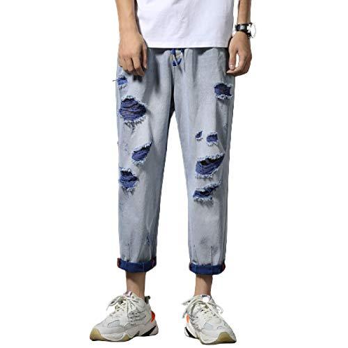 Pantalones Vaqueros para Hombre, Tendencia de Verano con Personalidad, Pantalones Harem Rasgados y recortados con cordón, Cintura elástica, Pantalones Vaqueros Sueltos de Pierna Recta 30