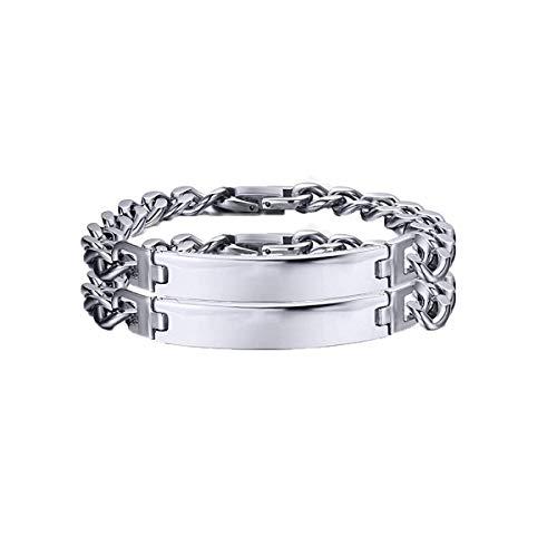 "VNOX Pack of 2 Stainless Steel Link Chain Friendship Bracelet Wristband for Men Boy,Graduation Gift,8.7"""