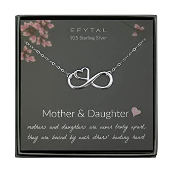 EFYTAL Mom Gifts 925 Sterling Silver Infinity with Heart Necklace for Mother & Daughter Mom Necklaces for Women Best Birthday Gift Ideas Pendant Mother s Day Jewelry For Her Mothers Day