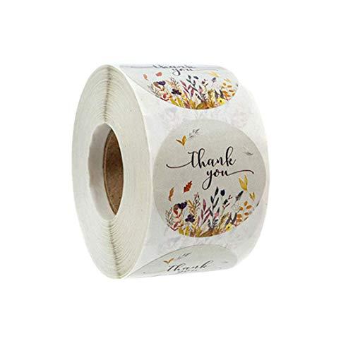 500Pcs Etiquetas de agradecimiento Etiqueta redonda para hornear Etiqueta autoadhesiva Etiquetas adhesivas redondas hechas a mano Etiquetas Decoración de rollo para regalos hechos en casa 1 pulgada