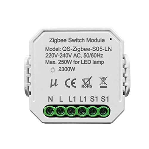 Voupuoda QS-ZIGBEE-SO5-LN Tuya ZigBee One Gang Módulo de interruptor de atenuación inteligente Módulo de modificación de interruptor Herramienta de bricolaje inteligente para el hogar APLICACIÓN/Con