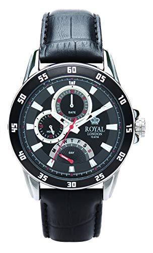 Royal London Sportlicher Herren Chronograph 44 MM mit Lederband 41043-02
