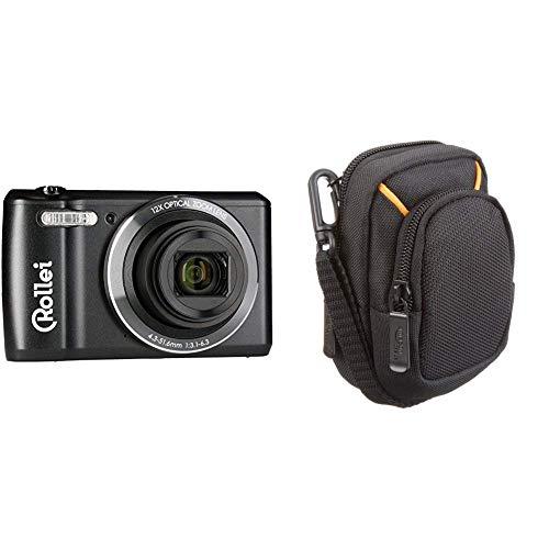 """Rollei Historyline 98 - Kompaktkamera (Digitalkamera) mit 20 Megapixel, 2,7"""" TFT-Farbmonitor und eine HD Videoauflösung 720p/30fps, inkl. WiFi - Schwarz & AmazonBasics Kameratasche für Kompaktkameras"""