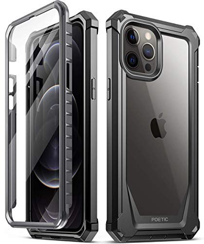 Poetic Guardian Series Designed for iPhone 12 Pro Max 6.7 inch Case, Full-Body Hybrid Reinforced Shockproof Protective Rugged Clear Bumper Cover Case with Built-in-Screen Protector, Black/Clear