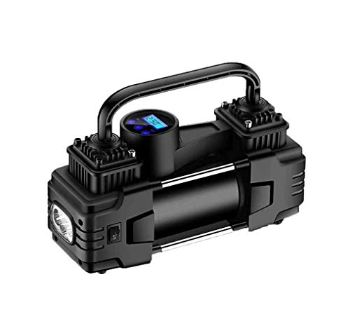 SMSOM Compresor de Aire portátil for Neumáticos, 12V DC compresor de Aire de la Bomba de inflado de neumáticos con Linterna LED de Emergencia for el Coche, Motocicletas, Bicicletas, hinchables, Negro