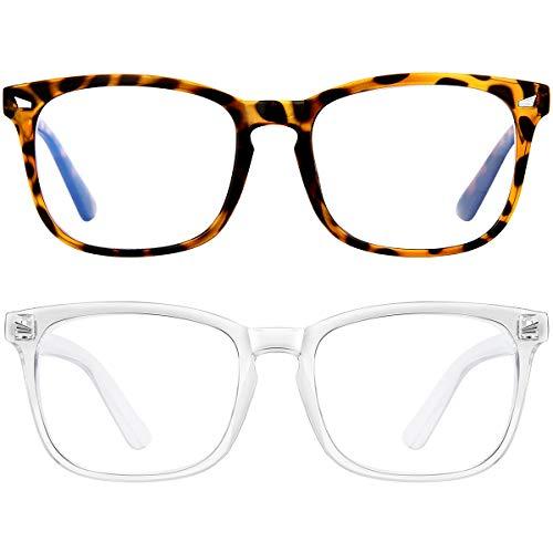 Blue Light Blocking Glasses Square Computer Glasses Women/Men, Nerd Reading Gaming Glasses Non Prescription (Transparent+Leopard Print)