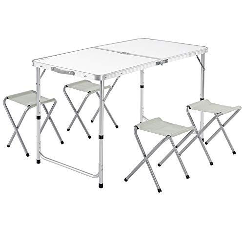 Casaria Campingtisch Klapptisch Höhenverstellbar 4 Stühle Klappbar Griff Aluminium 120x60x70 cm Gartentisch Camping Weiß