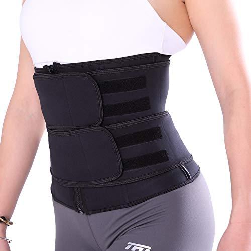 TFO Women's Waist Trainer 9 Steel Boned Corset Sweat Trimmer Belt Workout Shapewear for Weight Loss (schwarz,S)