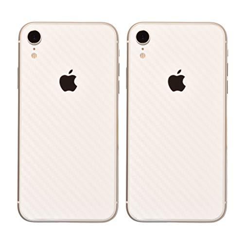 Set di 2 Fibra di Carbonio Design Foglio Resistente ai Graffi Adesivo Posteriore per iPhone XR | Antiscivolo, Antipolvere, Ultra Sottile (70 Micron) | Pellicola Protettiva AntiGraffio per la Schiena