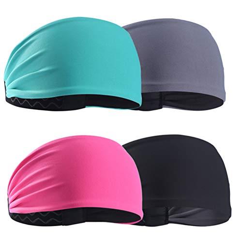 Milisten Workout Stirnbänder für Frauen Schweißableitende Haarbänder für Sport Fitness Yoga Laufen Elastisch rutschfest 4St