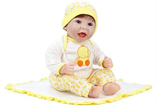 LIUCY Herboren Babypop Levensechte Pasgeboren Baby Eend Jurk Set Mooie Glimlach Gezicht Gewogen Pop Geworteld Haar Van Hoge Kwaliteit