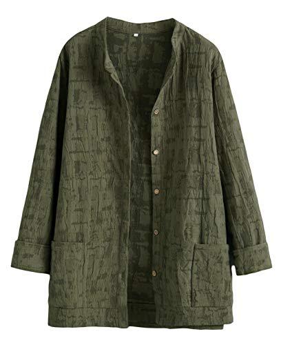Mallimoda Damen Leinenblusen Cardigan Strickjacke Button-Down Langarmshirt Kurzmantel mit Taschen Army Green M