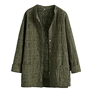 Women's Lightweight Blouse Outwear Jacket Jacquard Cotton Shirt Tops
