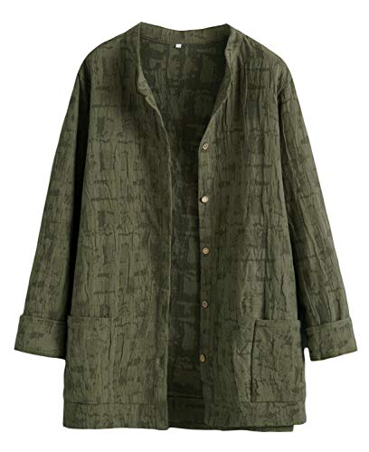 Mallimoda Damen Leinenblusen Cardigan Strickjacke Button-Down Langarmshirt Kurzmantel mit Taschen Army Green XL