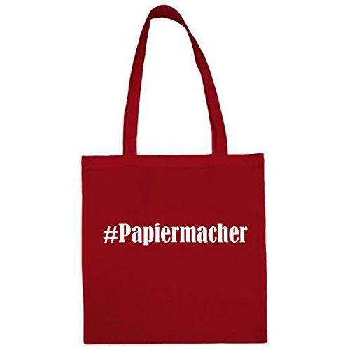 Tasche #Papiermacher Größe 38x42 Farbe Rot Druck Weiss