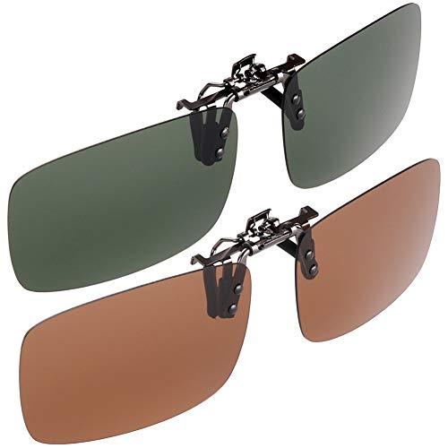 H&S Clip on Sunglasses 2 Pairs Polarised Flip Up fit Sunglasses Glasses Eyeglass for Women Men