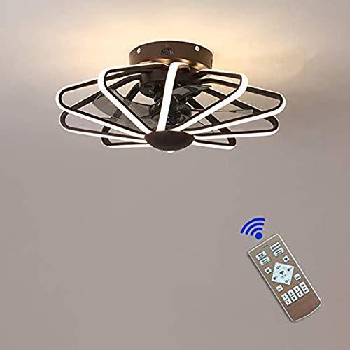 CYC Ventilador de Techo con Luz Lámpara Control Remoto 6 Velocidades Fría/Neutra/cálida Luces Temporizador Regulable Led 160w Ventilador Invisible Plafon,Coffee Gold