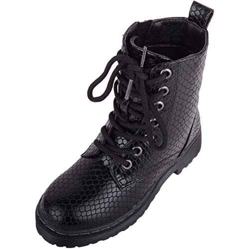 Kids/Childrens/Girls Slip On Retro Military Combat Boots with Croc Design and Inner Zip - Black - UK 6 / EU 39