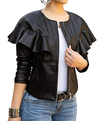 lovecarnation Women Sexy Short Coat Jacket Zip Up Long Sleeves Ruffle Faux Leather PU Jacket Black XXL